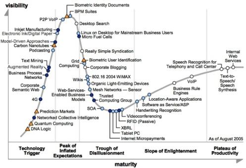 Gartner Hype Curve for 2005